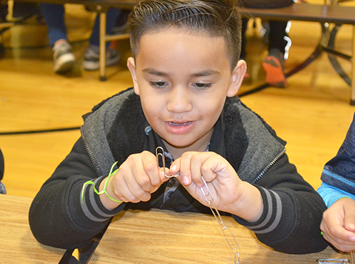 "A young Cena y Ciencias visitor works on putting together their paperclip ""polymer"" chain. Photo by Elizabeth Innes."